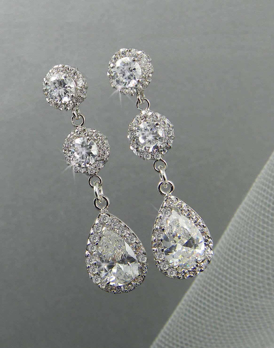 Dangle Crystal Bridal Earrings Wedding Long Bridesmaids Swarovski Jewelry Stud 44 00 Via Etsy