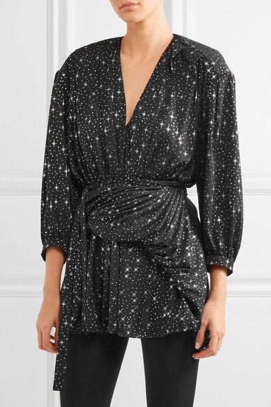 d536b694b5c1 Balenciaga - Draped Metallic Printed Stretch-jersey Mini Dress - Black