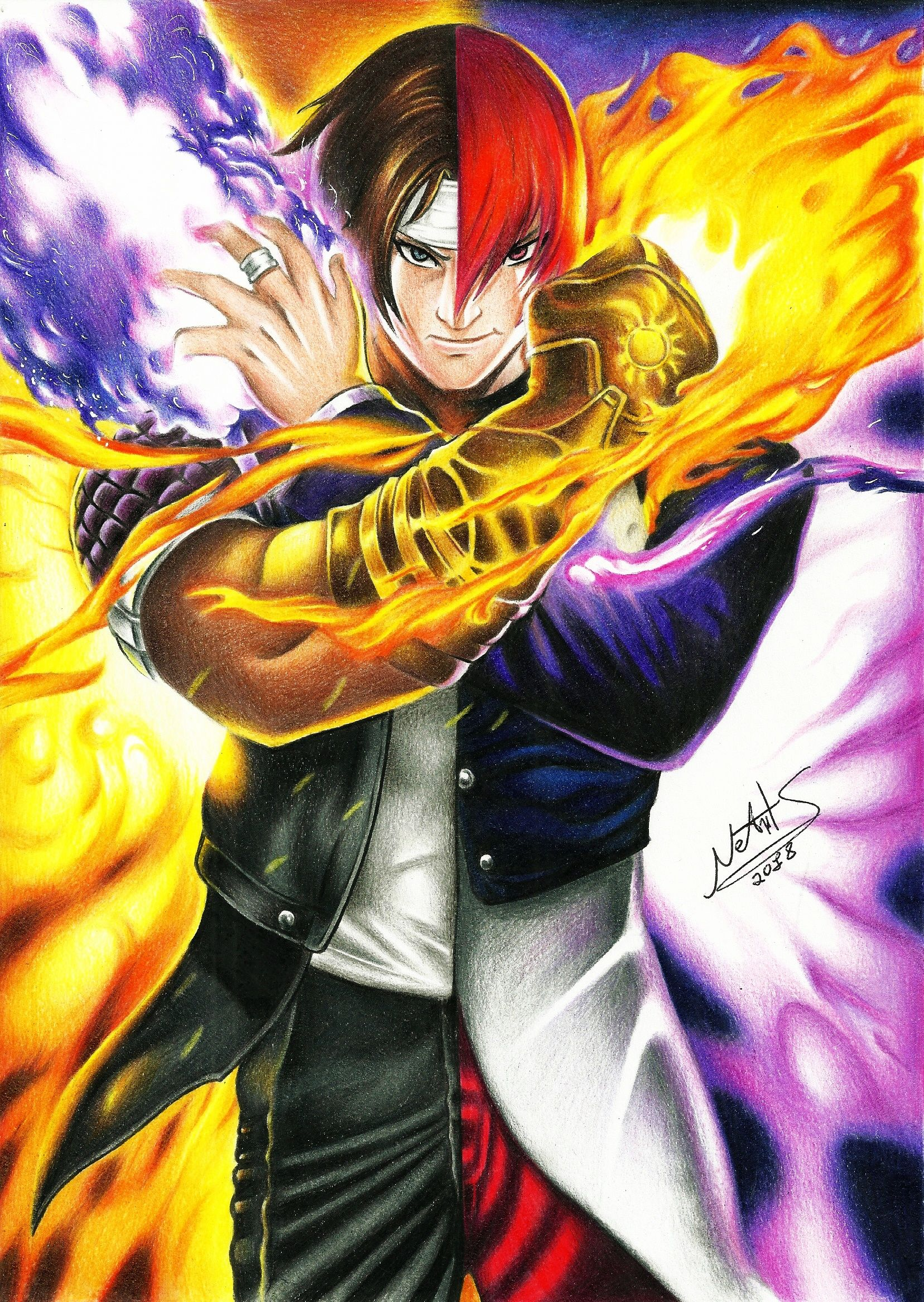 Speed Drawing Kyo Kusanagi Iori Yagami King Of Fighters Collab King Of Fighters Street Fighter Art Fighter