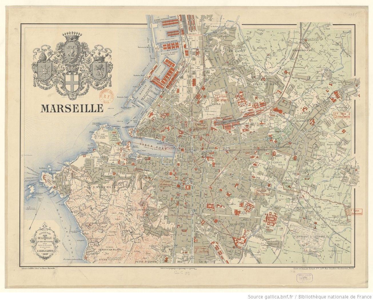 Marseille Nouveau Plan De La Ville Et De Ses Environs Dress D