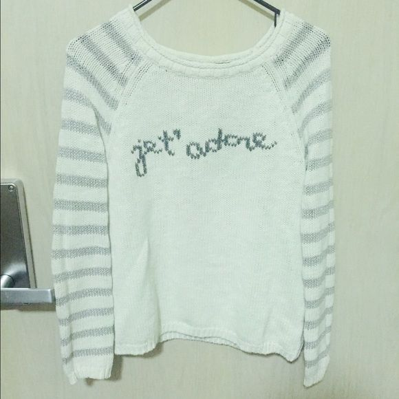 Anthropologie 'J'adore' Sweater by Moth Perfect condition, beautiful sweater. Worn and knit well. Silver striped sleeves with 'J'adore' print. Price negotiable. Anthropologie Sweaters Crew & Scoop Necks