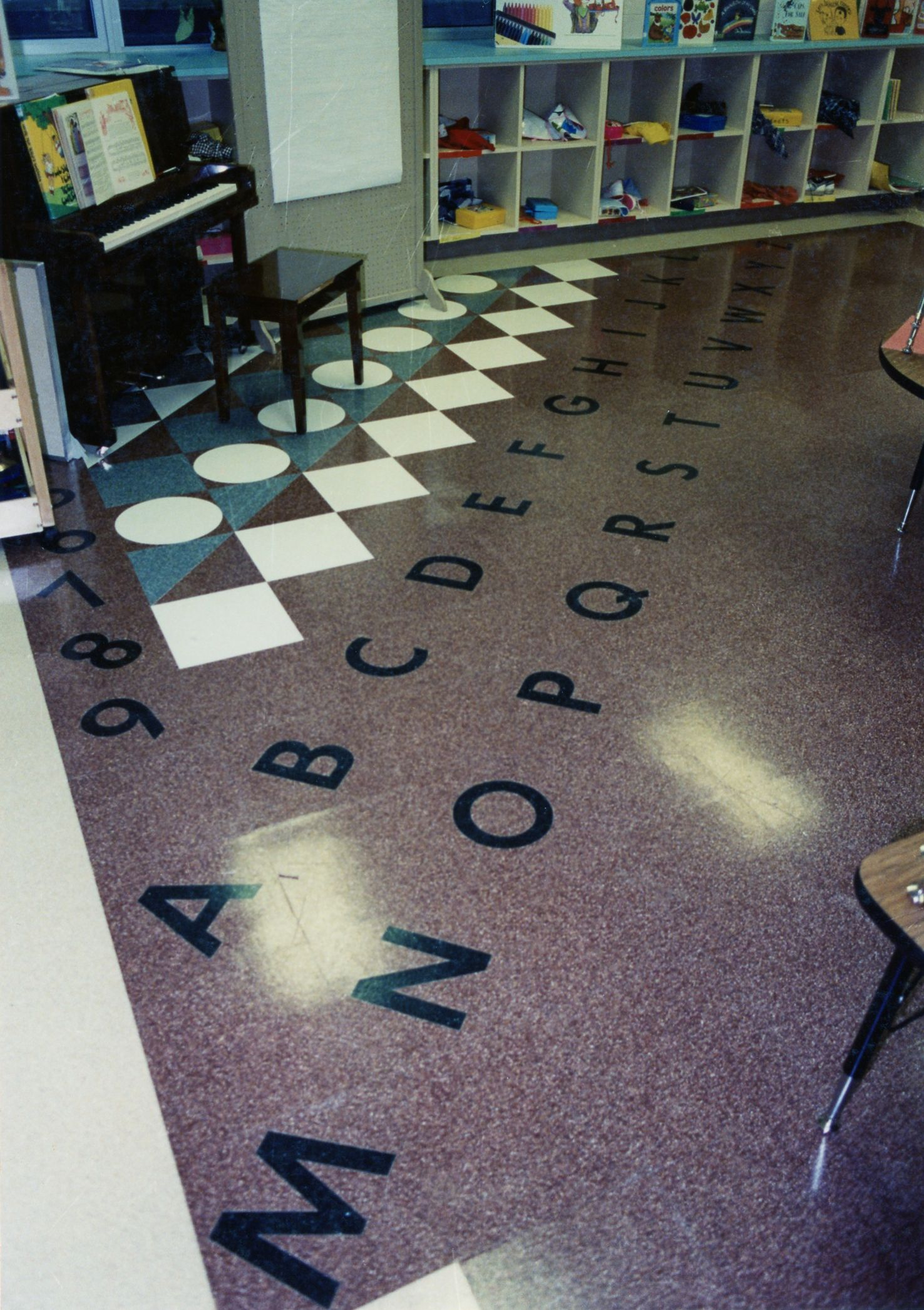 Classroom floor alphabet tiles fritztile terrazzo tile fritztile fritztile manufactures high quality terrazzo floor tile perfect for high traffic area where longevity and low maintenance requirements are essential dailygadgetfo Images