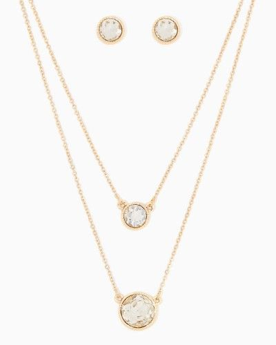 Cayla Pendant Necklace Set | Fashion Jewelry - Silver RSVP | charming charlie