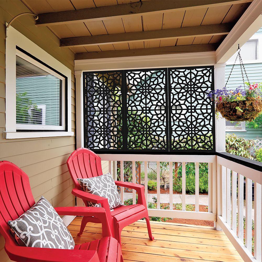 2 X 4 Fretwork Vinyl Decorative Screen Panel Black Privacy Screen Outdoor Porch Design Diy Porch