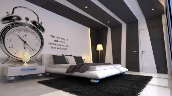 Schlafzimmer Weiß Schwarz Dekoideen-Wand | Organisation