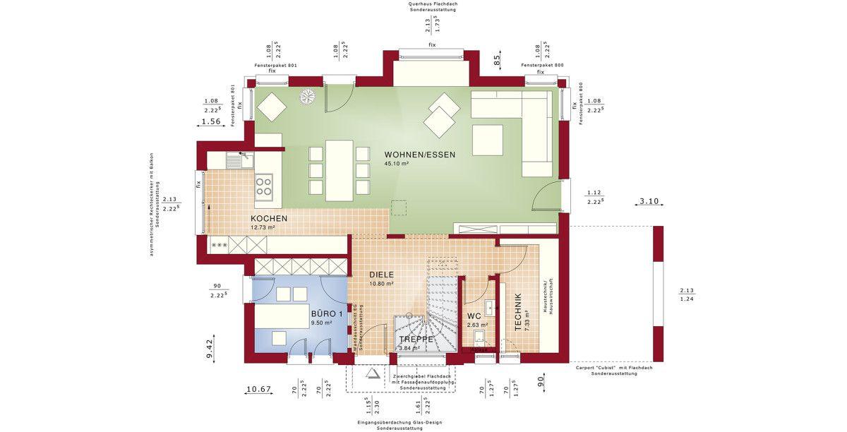 Grundriss Einfamilienhaus Erdgeschoss - Haus Concept-M 167 Bien ...