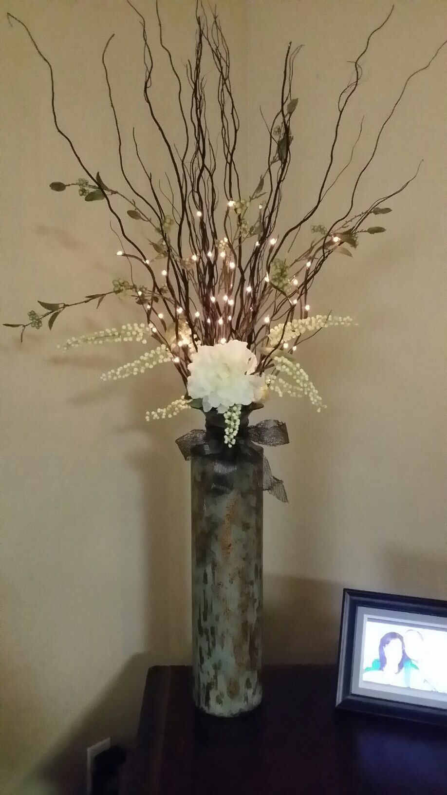 I M In Love With This One I Created Metal Vase Decorative Floral Twigs Pre Lit Lights Big Flower A Floor Vase Decor Tall Floor Vases Tall Vase Arrangements