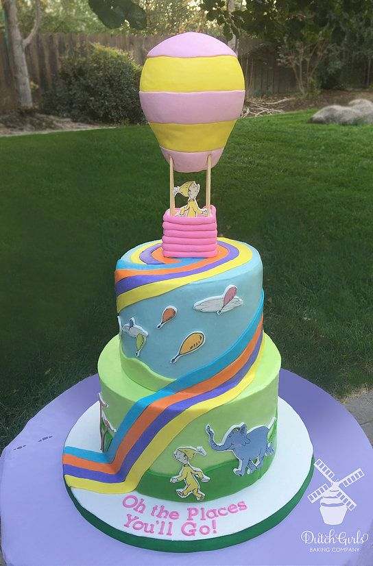 Dr Suess Oh The Places Youll Go Cake World Traveler Baby Girl