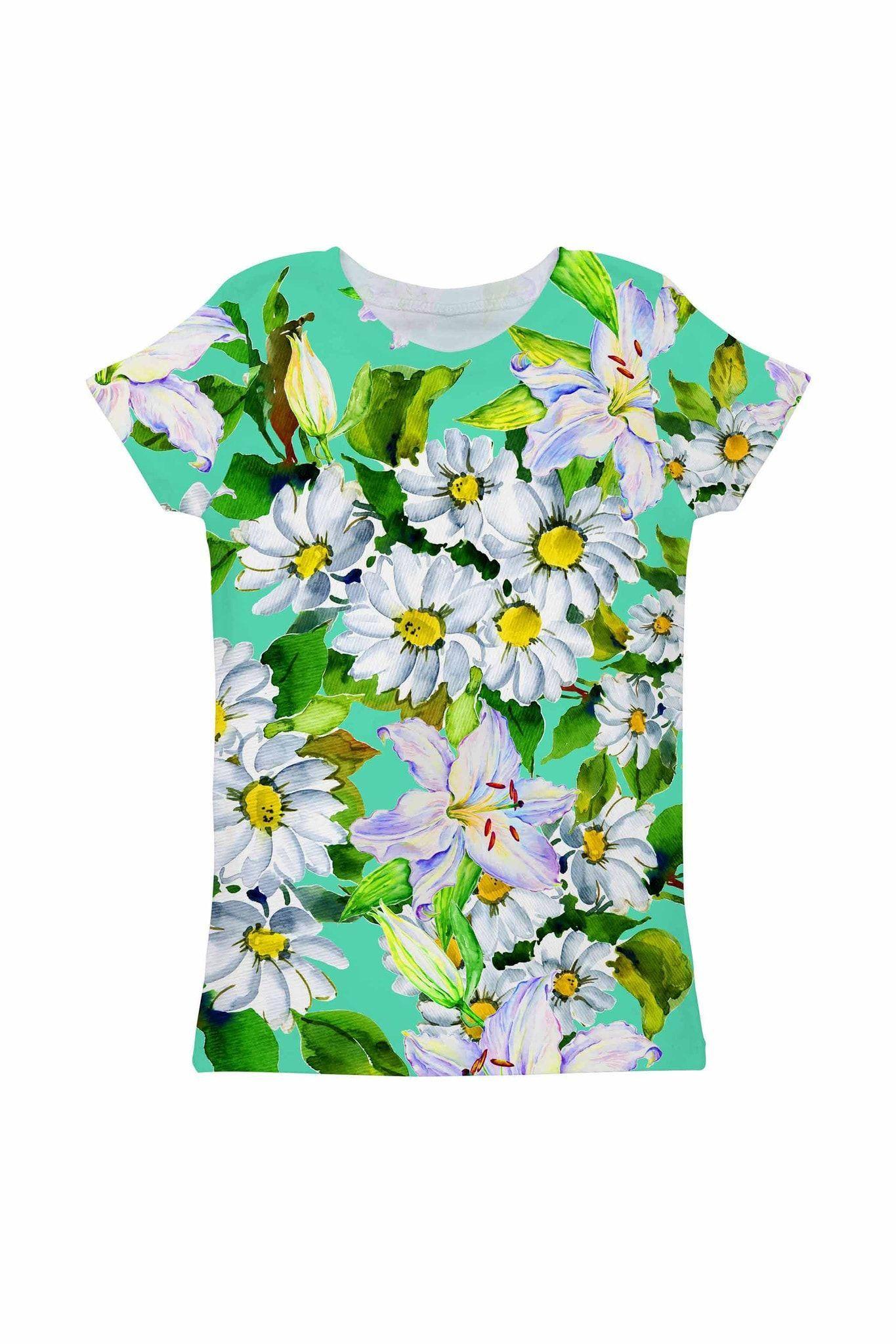 Flower Party Zoe Green Print Cute Designer T-Shirt - Girls