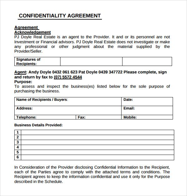 Confidentiality Agreement Pdf Business Agreement Format Sample