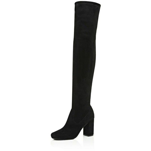 River Island Black over the knee boots ($150) ❤ liked on Polyvore featuring shoes, boots, river island, black, suede, shoes / boots, women, black boots, over-the-knee high-heel boots and suede over the knee high heel boots