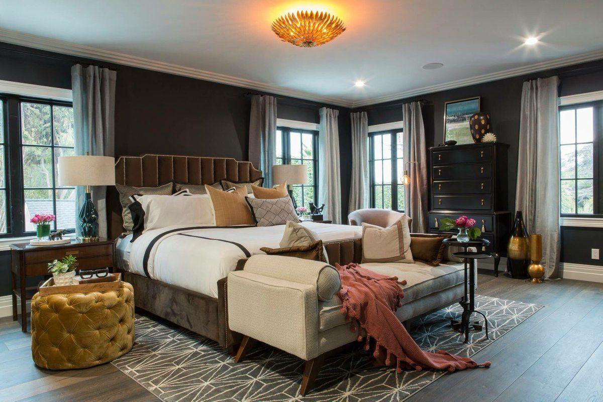 Drew S Honeymoon House Master Bedroom With Blue Green Walls Propertybrothers Honeymoon House Honeymoon Bedroom Glamourous Bedroom