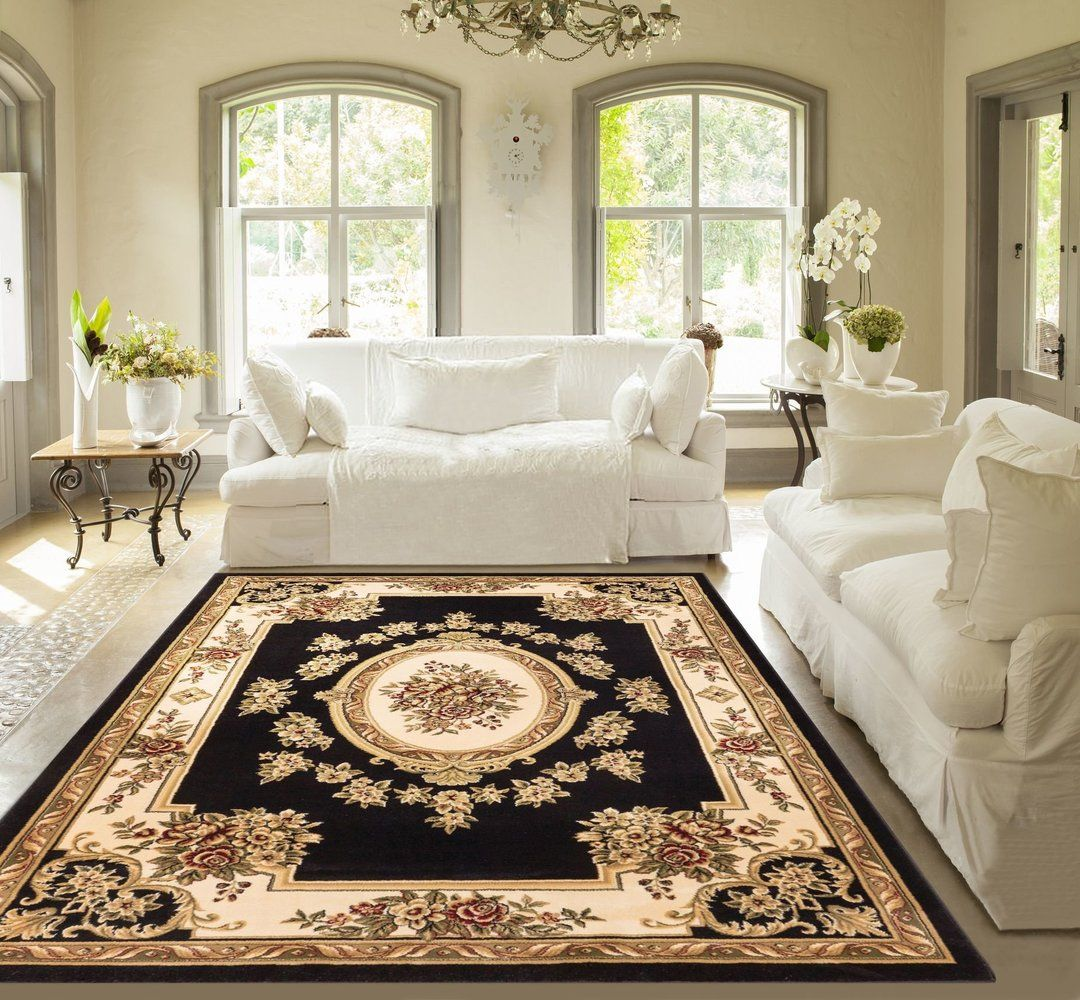 Le Pe Palais Black Traditional Rug Medallion Rugs Area Decor