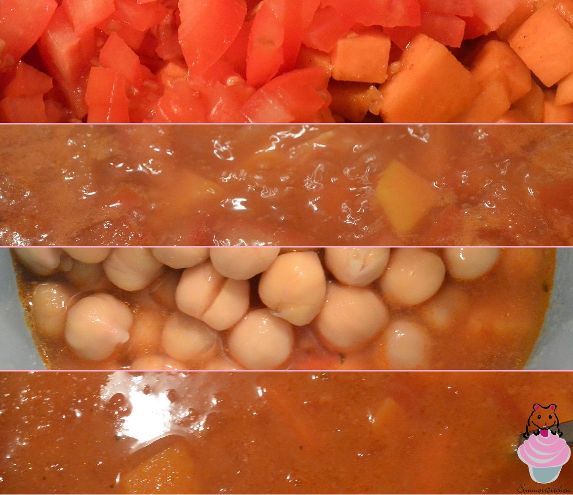 Sommertörtchen: Süßkartoffel-Möhren-Suppe mit Kichererbsen