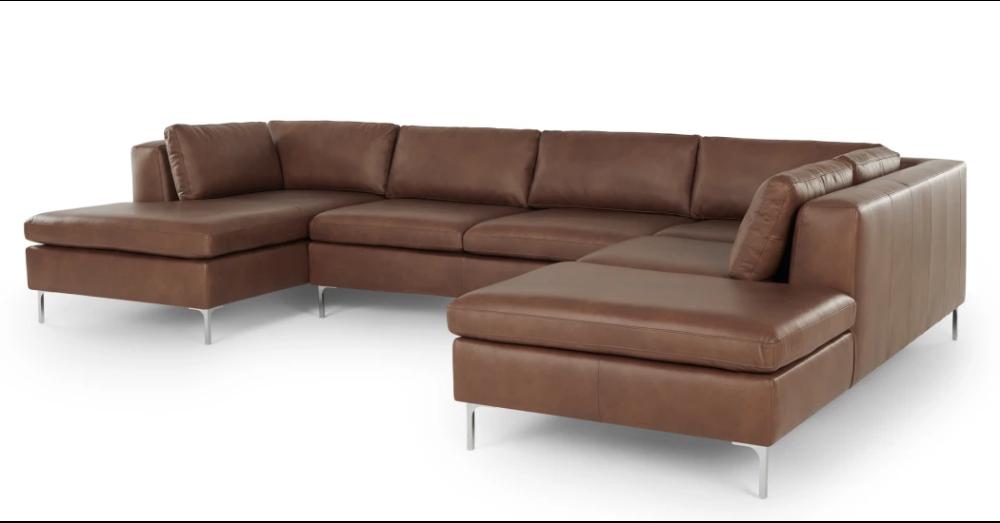 Monterosso Right Hand Facing Corner Sofa Walnut Brown Leather Made Com