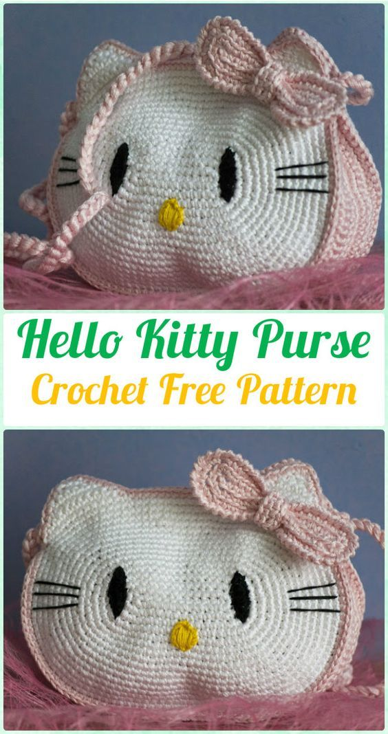 Crochet Kids Bags Free Patterns Instructions Hello Kitty Purse