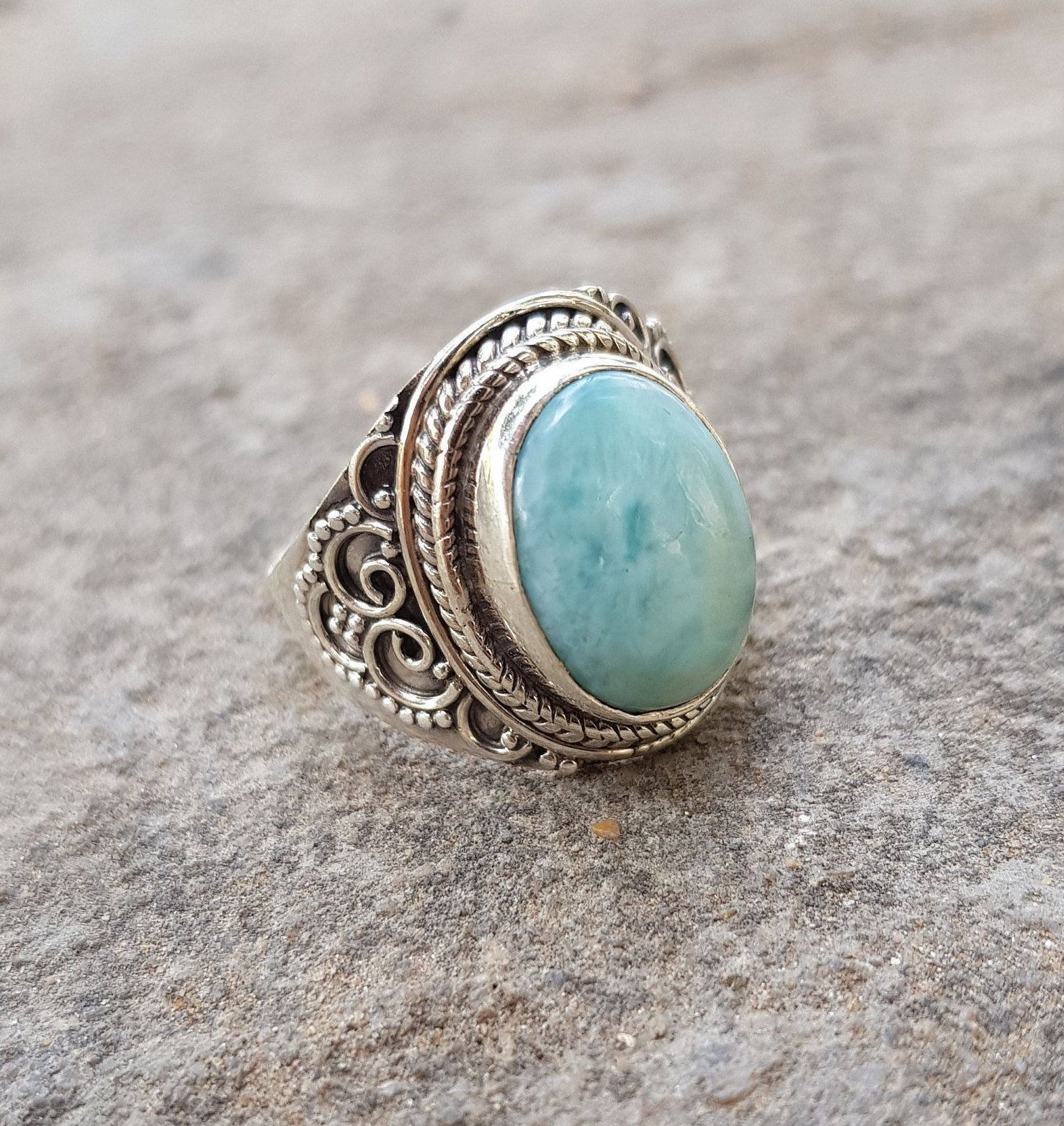 Ring larimar stone and silver 925 New