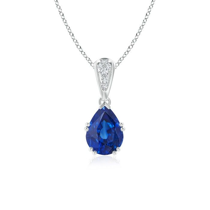 Angara Oval Blue Sapphire Halo Vintage Pendant in White Gold
