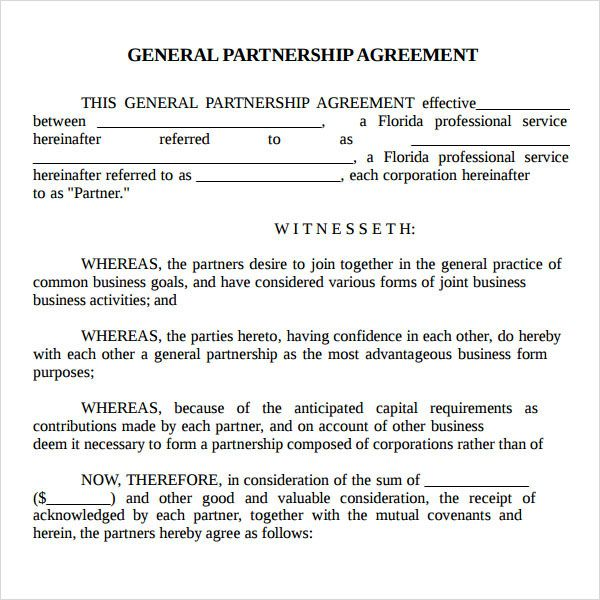 Printable Sample Partnership Agreement Sample Form | Real Estate