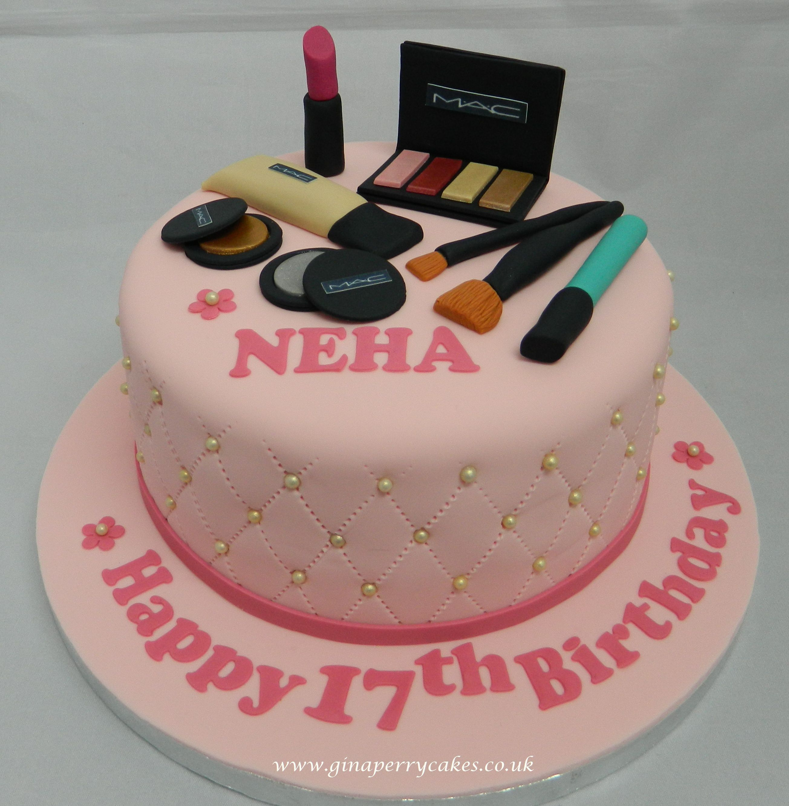 Marvelous Make Up Themed Birthday Cake For A Teenager With Images Birthday Cards Printable Opercafe Filternl
