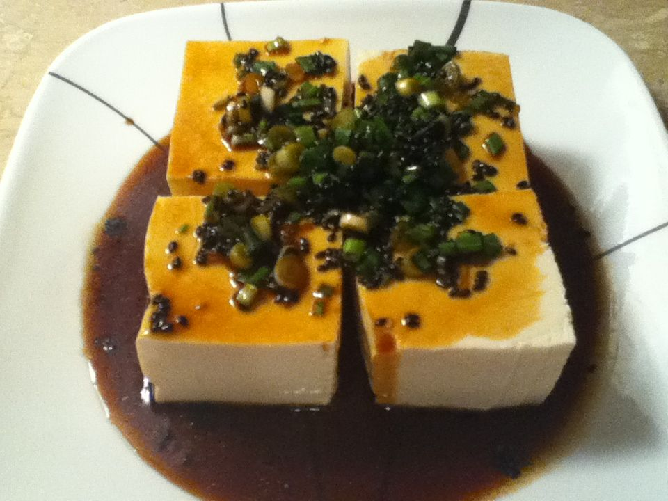 Shower super soft tofu with boiling water and green onion and sesame oil and soy sauce- That's all you need-