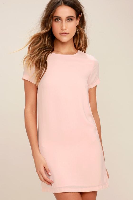 Shift And Shout Blush Pink Shift Dress Shift Dress Elegant White Dress Long Sleeve Shift Dress