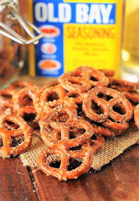 Cajun Pretzels Photo ~ mini pretzel twists seasoned with Old Bay, Ranch seasoning, and cayenne pepper.