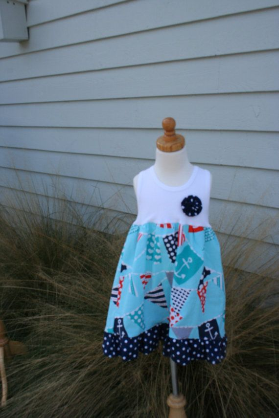 girl toddler size 6-12mo 78 years BACK to SCHOOL denim peasant dress with large offset apple applique...or crayons...or sock monkey