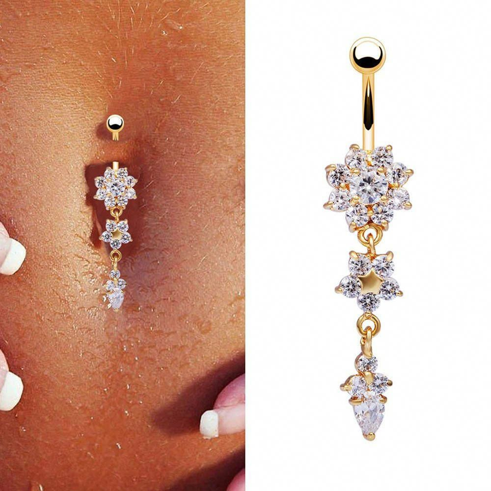 Belly button piercing side view  Beauty Crystal Flower Dangle Navel Belly Button Ring Bar Body