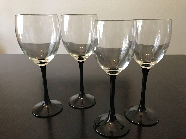 Arcoroc Black Stem Wine Glasses, Two Red Wine & Two White