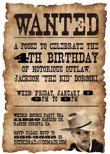 e08e8ac53223497acddf07e70c6cdfc1 western cowboy birthday party invitation on a wanted poster,Wanted Poster Birthday Invitations