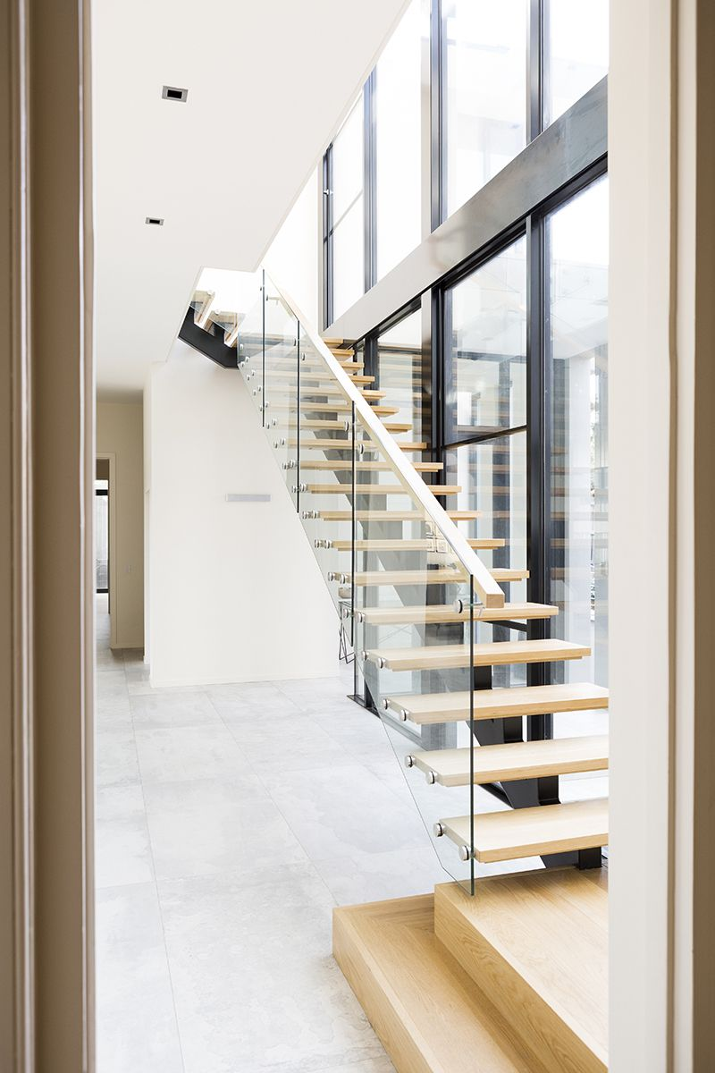 Genial Stairs | Contemporary Staircase | Architecture | American Oak | Glass  Balustrade | Timber Treads | Handrail | Landing | Windows | Interiors |  Architecture ...