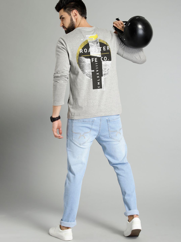 9b3cf52e057b0 Buy Roadster Men Grey Printed Round Neck T Shirt - Tshirts for Men 8240181