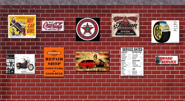 Garage Workshop Shed Wall Signs Accessory Set Of 10