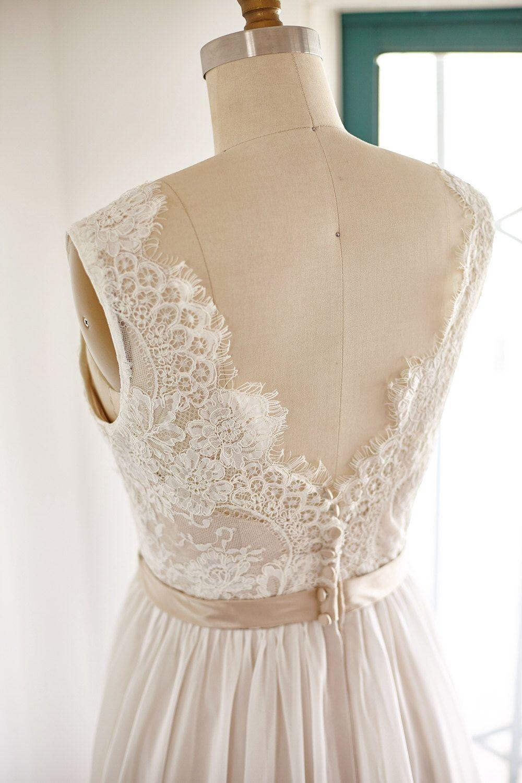 Lace chiffon wedding dress backless open back v back bridal gown