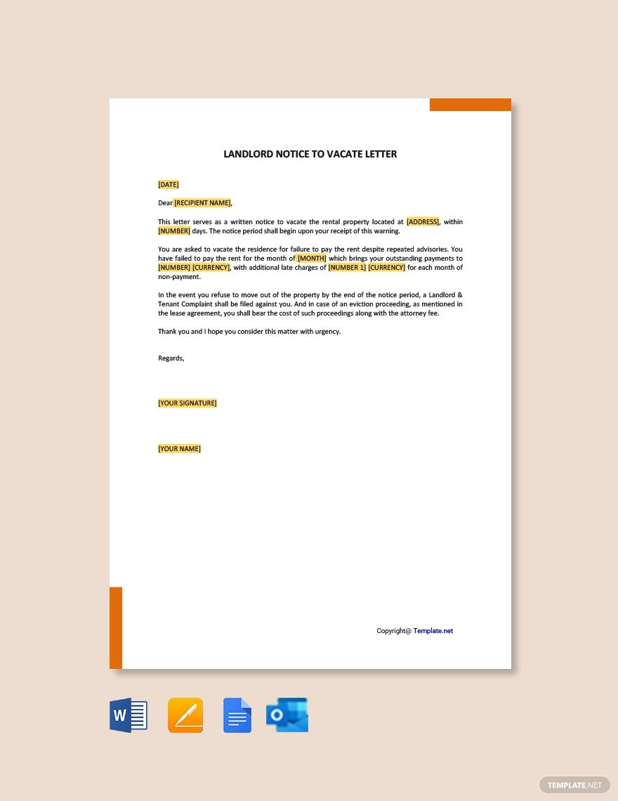 Landlord Notice To Vacate Letter Template Free Pdf Google Docs Word Template Net Being A Landlord Lettering Letter Templates