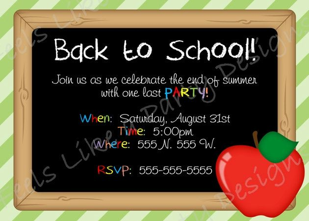 Back to school party invitation. Stock vector illustration of.