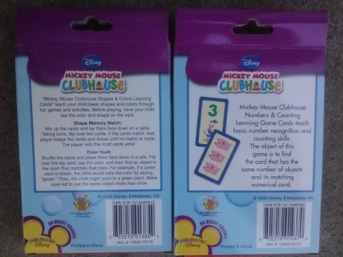 Disney Mickey Mouse Clubhouse Set Of 2 Flash Cards Color/& Shapes Numbers New