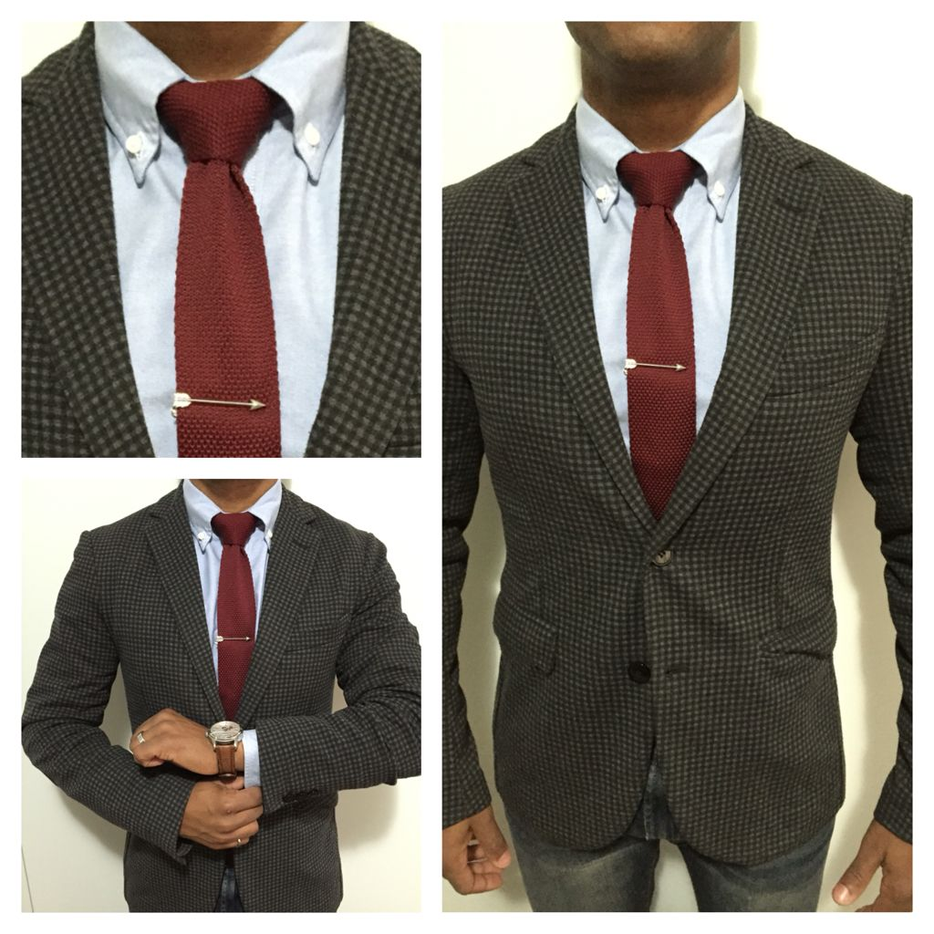 #mens #fashion purple knit tie and arrow tie clip #zara ...