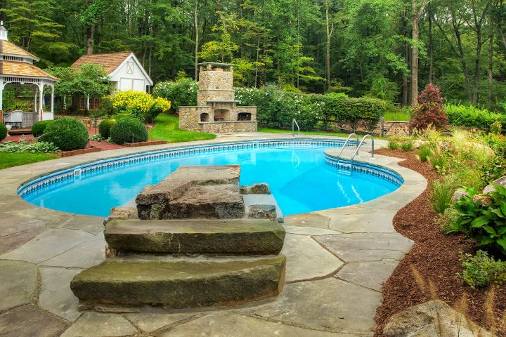 Stone Diving Board Just Like Jumping Into A River From The Rocks Above Outdoor Remodel Pool Landscaping Pool Water Features