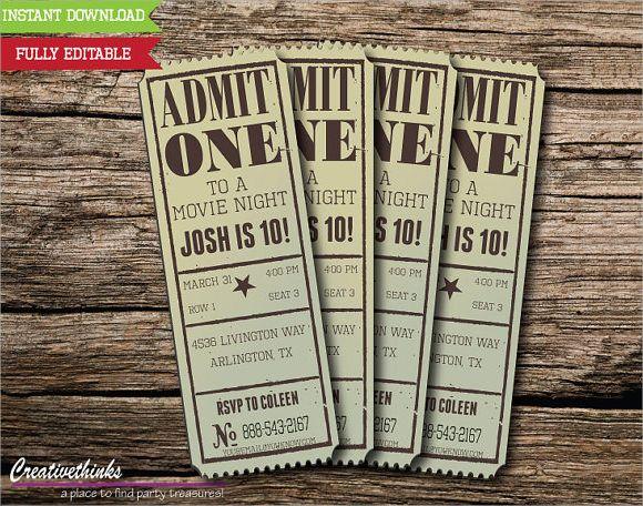 Vintage Movie Ticket Invitation Template   Fund Raiser Ideas