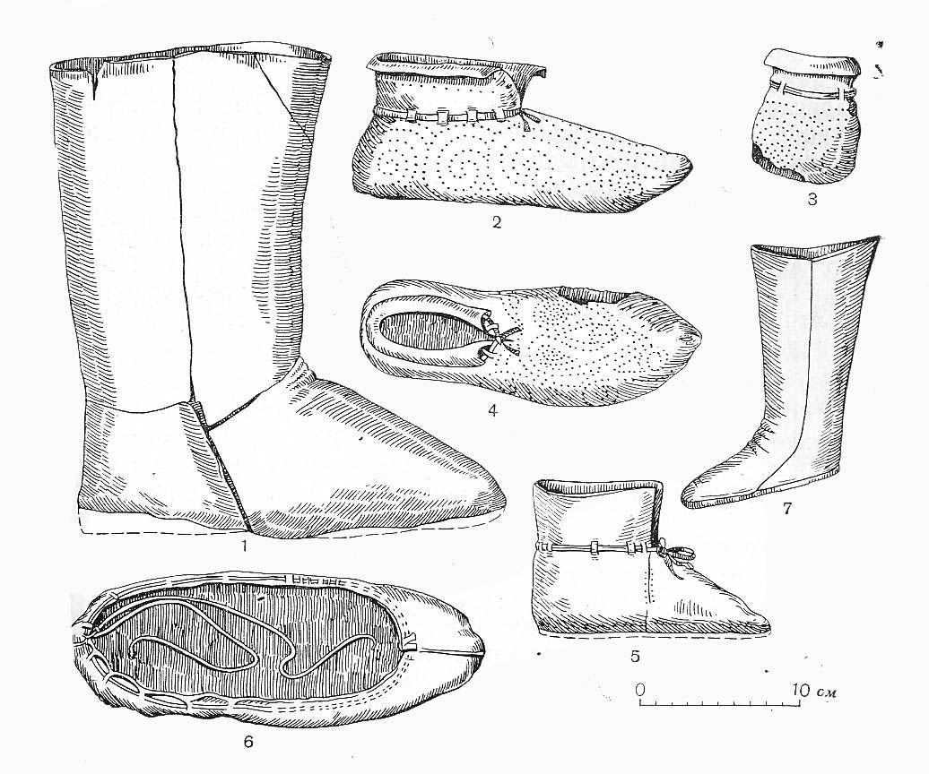 Short discussion and diagrams of embroidered leather shoes
