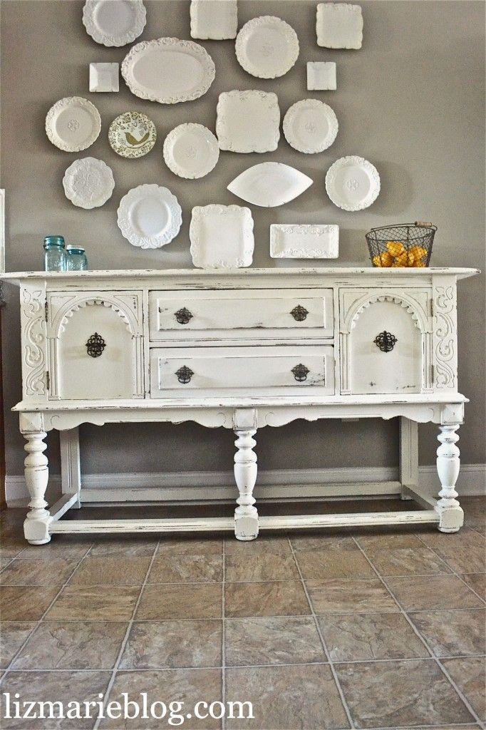 Lovely Shabby White Buffet Refurbished Furniture White
