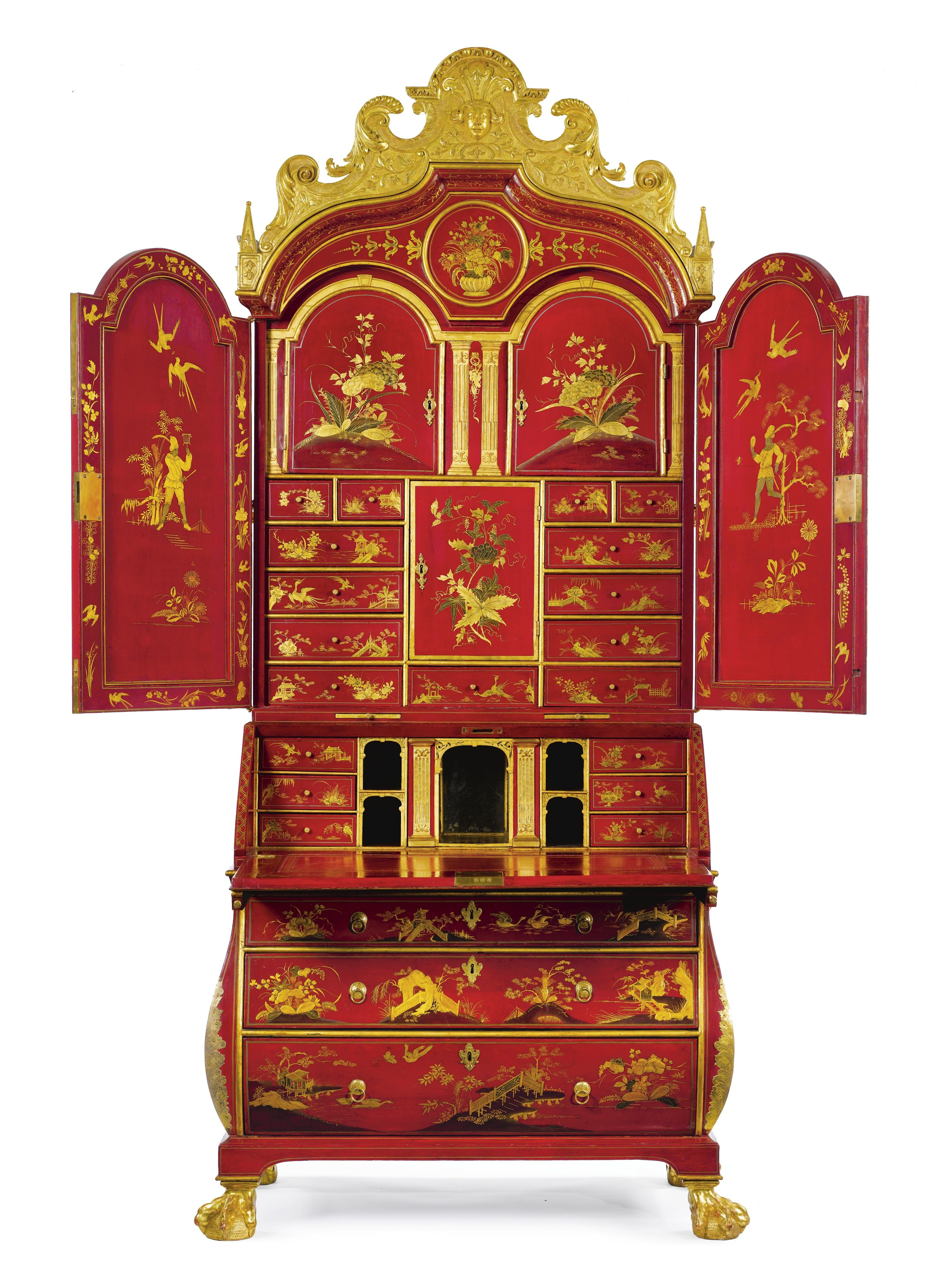 C1730 A Rare And Important German Baroque Parcel Gilt And Scarlet Japanned Bureau Cabinet Dr Painting Antique Furniture Chinoiserie Furniture Lacquer Furniture