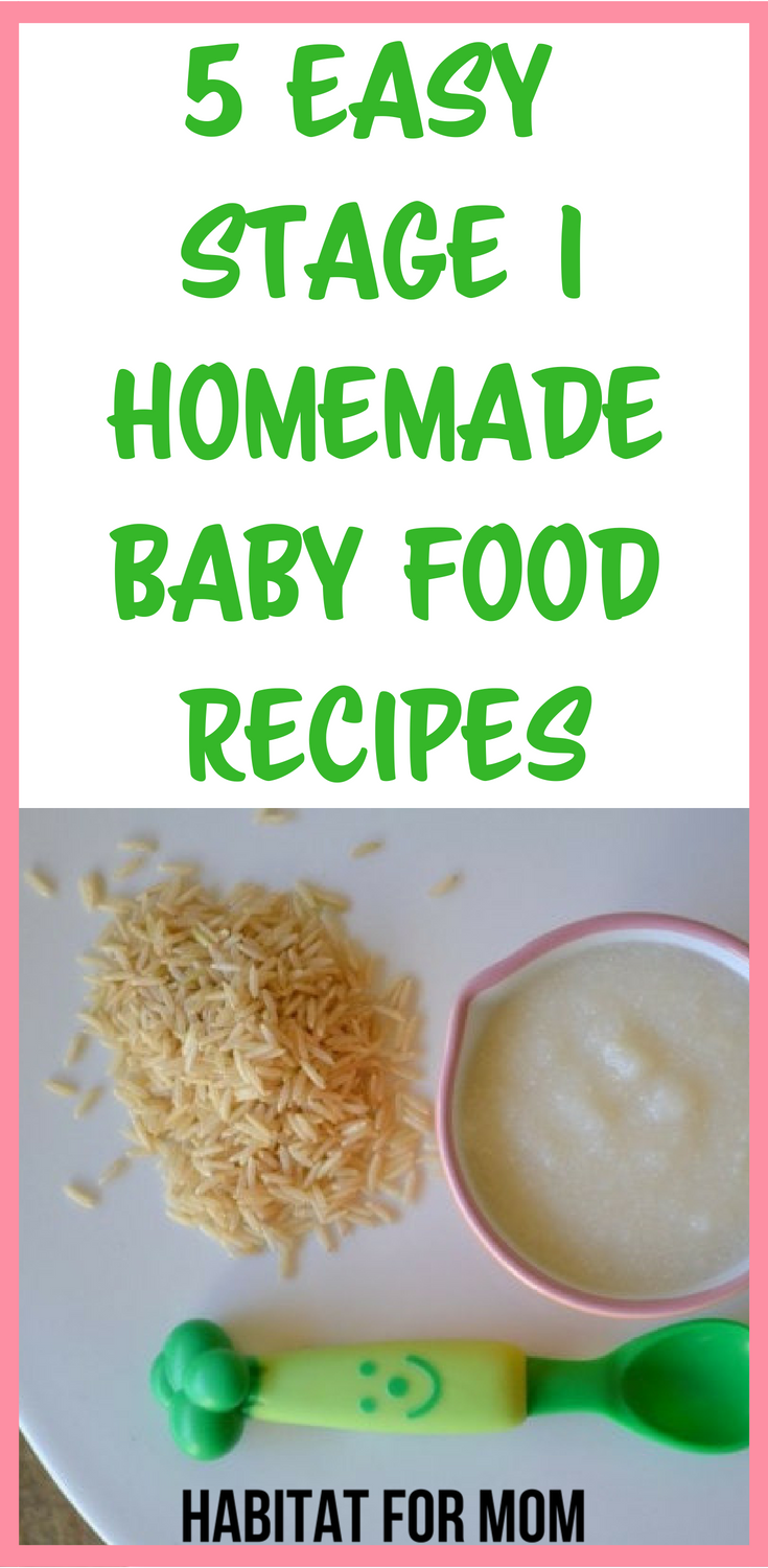 5 easy stage 1 homemade baby food recipes 4 to 6 months. Your baby will love these recipes. They are perfect for babies first foods. Baby food recipes | Homemade baby food | Baby food | first baby foods. #babyfood #recipes #homemade #diy #habitatformom