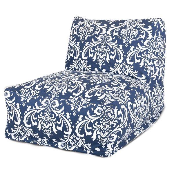 Navy Blue And White French Quarter Lounger Foam Bean Bag Chair