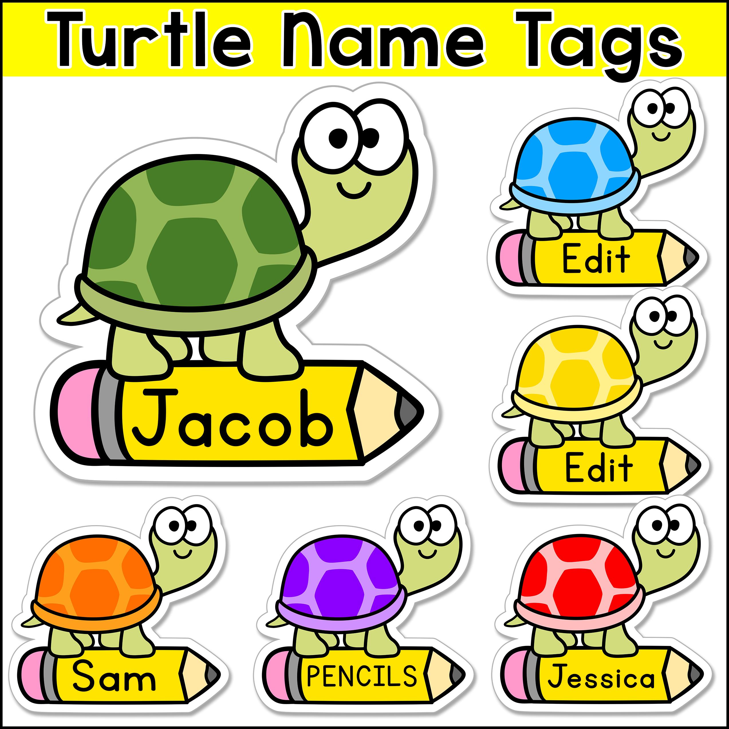 Turtle Theme Name Tags