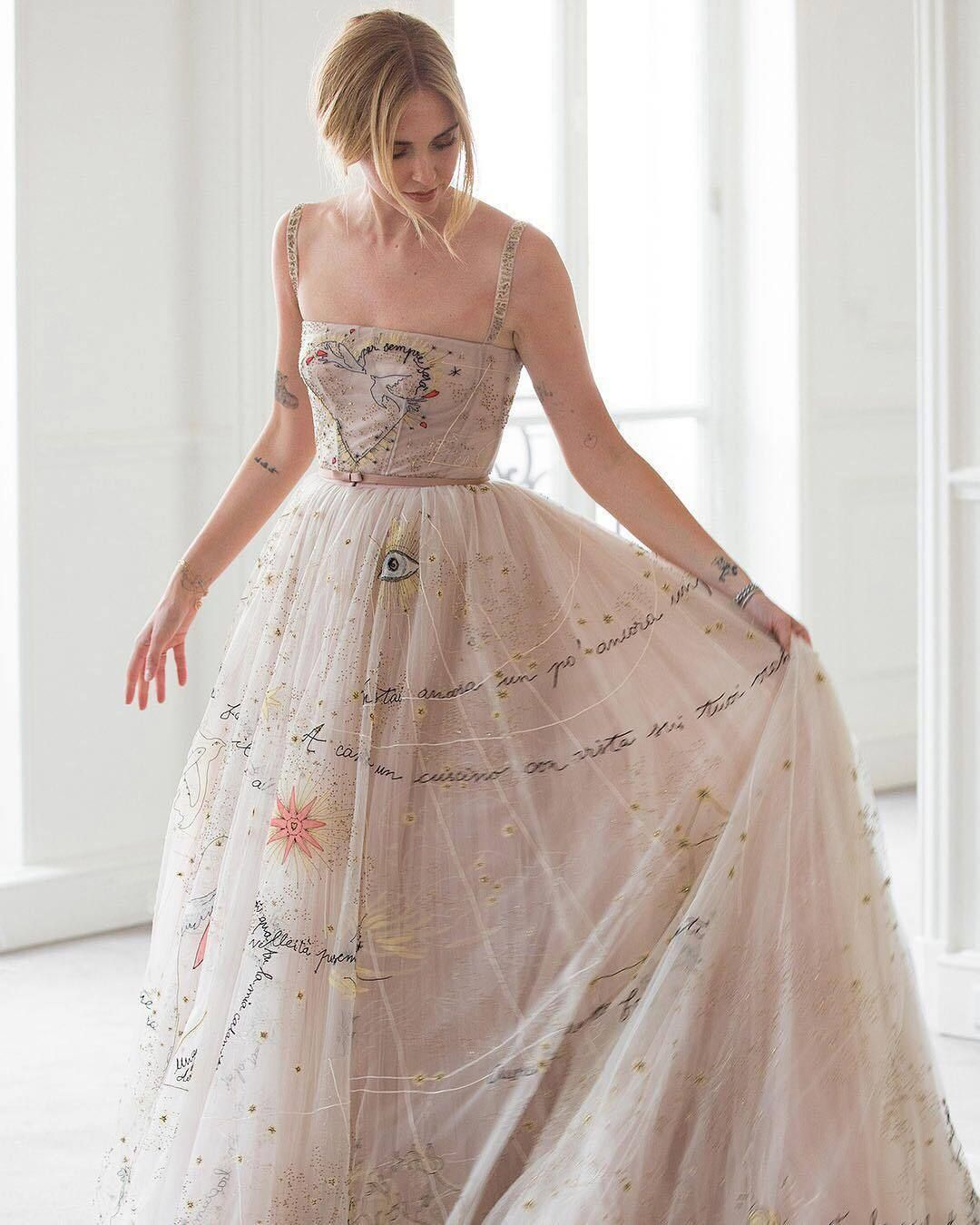 68e19a85 Chiara Ferragni's Dior gown for the wedding reception features the words and  places mentioned in the