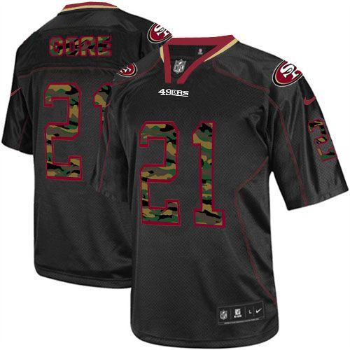 Mens Nike San Francisco 49ers #21 Frank Gore Elite Black Camo Fashion NFL Jersey for sale