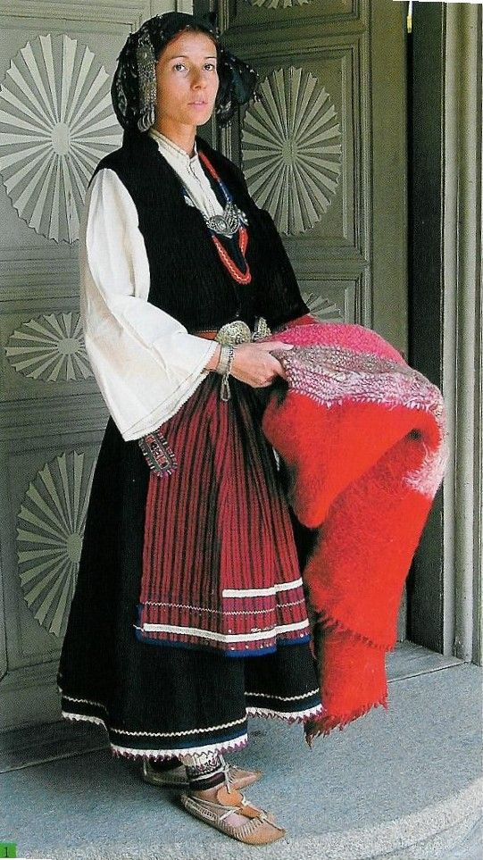 Europe | Portrait of a woman wearing traditional clothes, early 20th century, the village of Dabene, Plovdiv region (PEM), Bulgaria